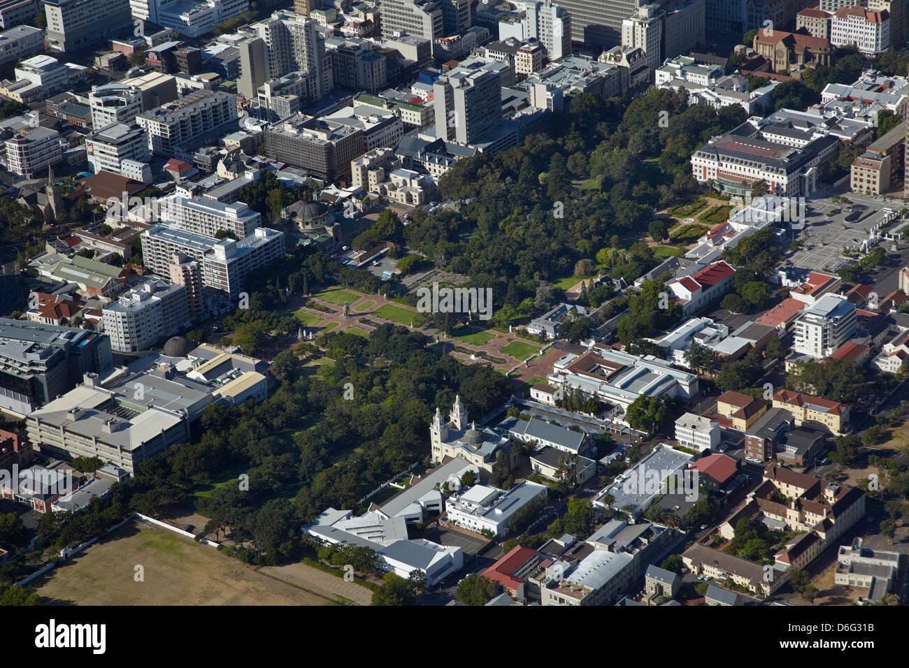 The Company's Garden, Cape Town CBD, South Africa - aerial - Stock Image
