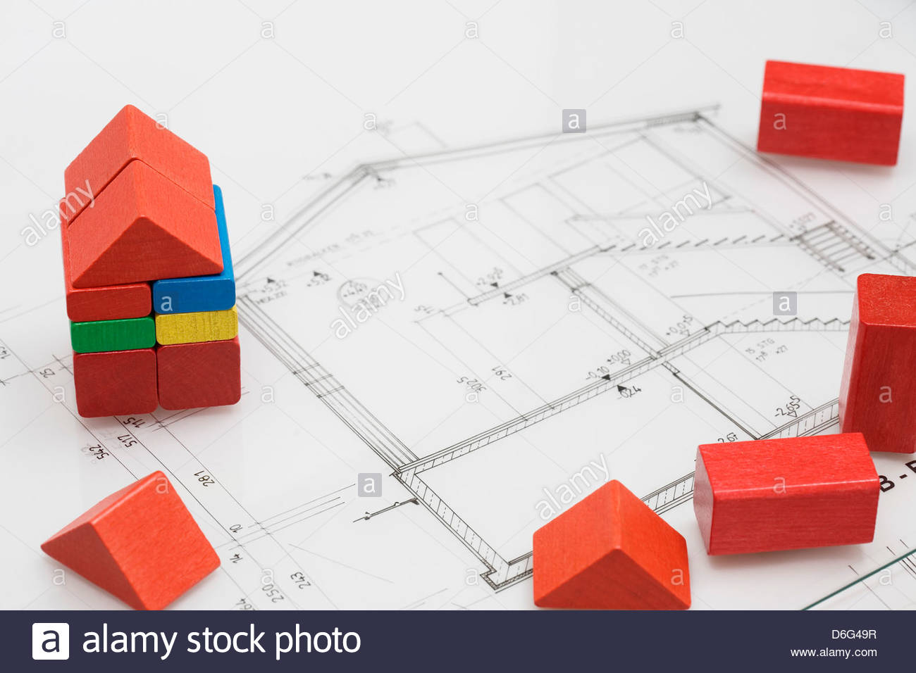 Childs red wooden building block house architects blueprint stock childs red wooden building block house architects blueprint malvernweather Images