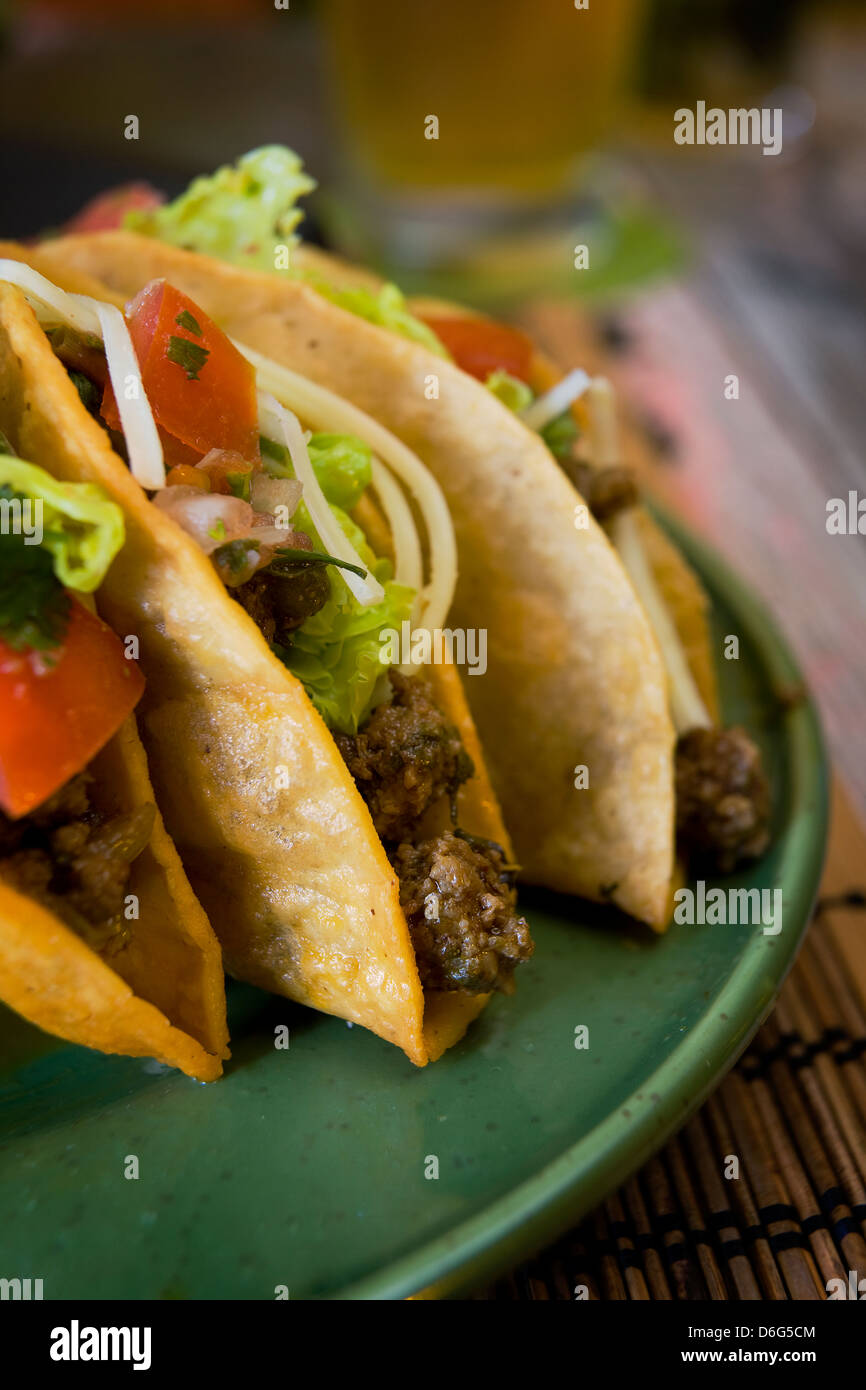 Crispy beef Tacos - with recipe - Stock Image