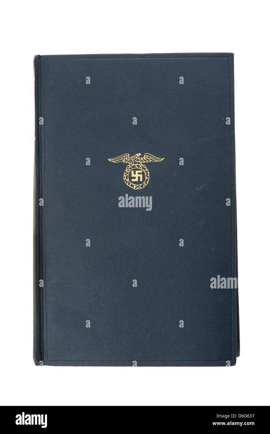 1939 edition of Mein Kampf by Adolf Hitler - studio shot with a white background - Stock Image