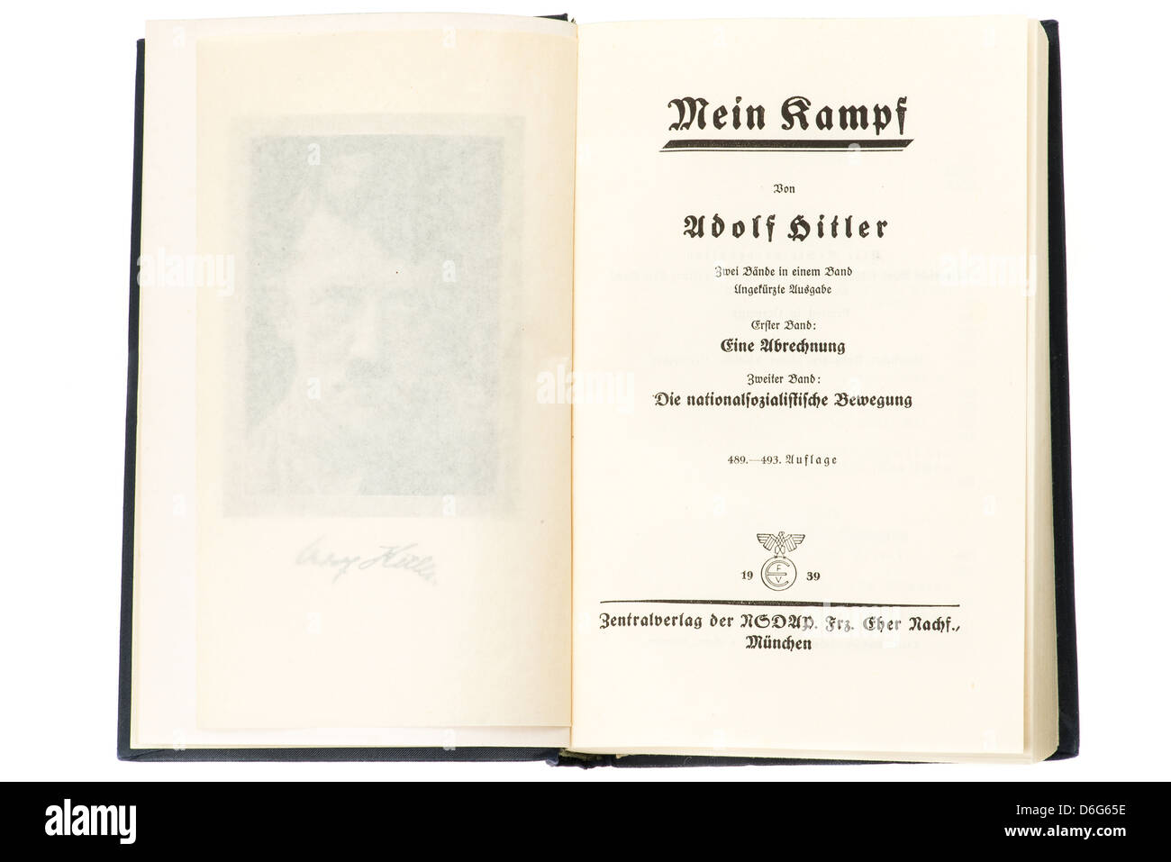 Inside pages of the hardback book Mein Kampf by Adolf Hitler, this is the 1939 edition. Studio shot with a white - Stock Image
