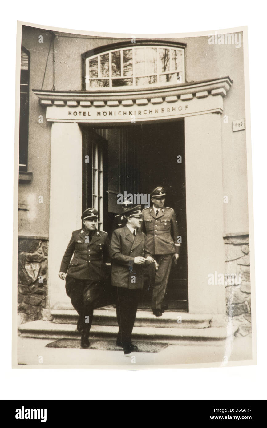 1940's Black and white photograph of Adolf Hitler and his officers leaving the Hotel Moenichkirchnerhof, Germany - Stock Image