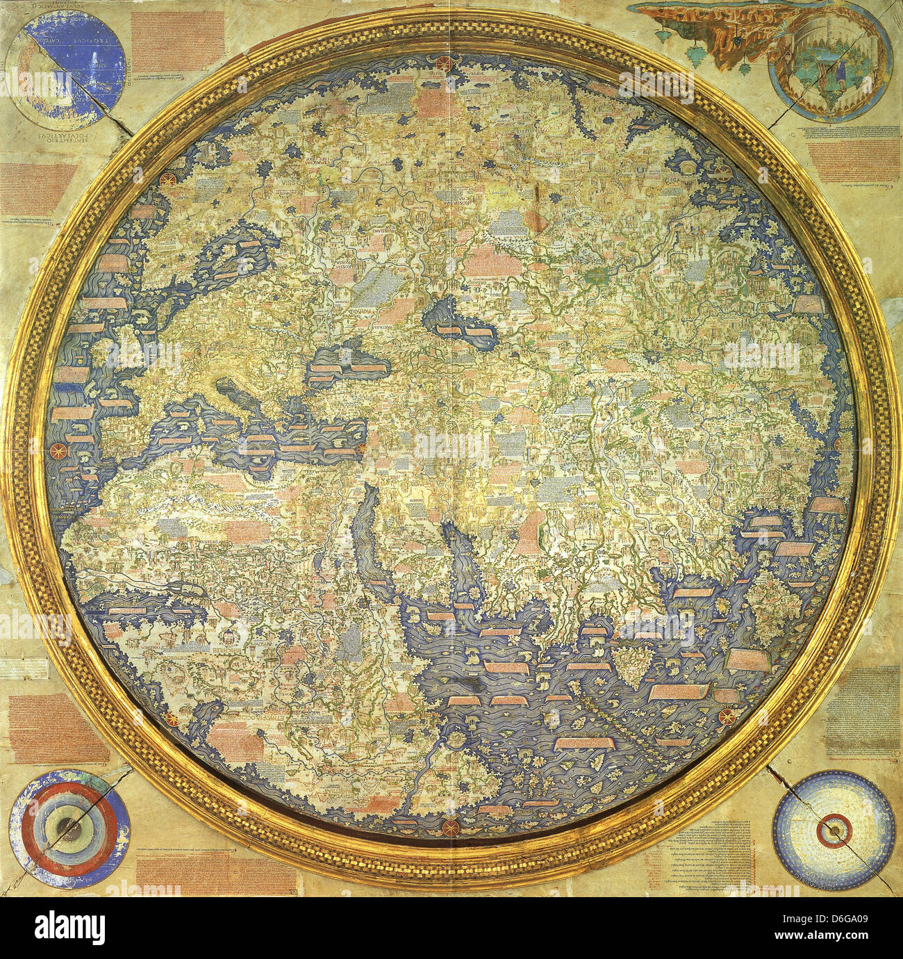 FRA MAURO  MAP  drawn in 1450 by Venetian monk Fra (Brother) Mauro - Stock Image
