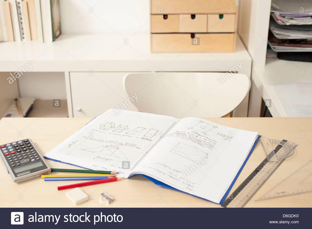 Homework still life - Stock Image