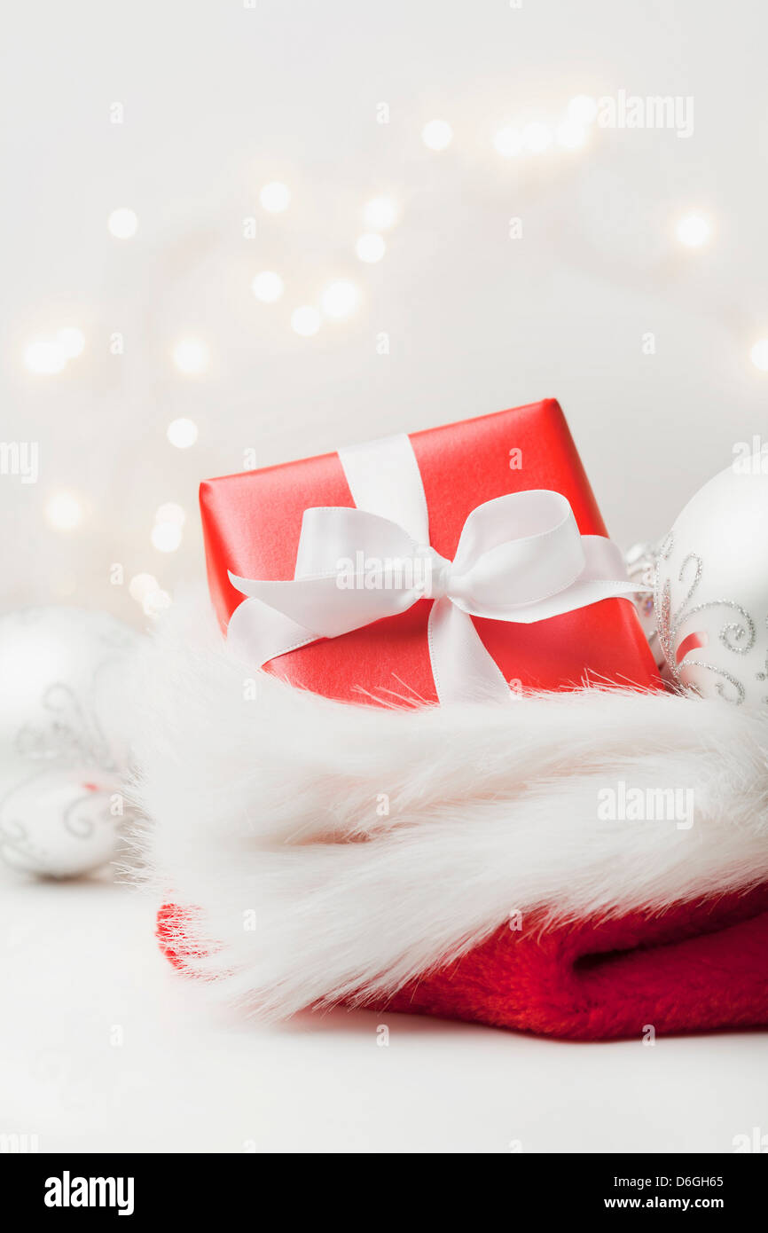 Christmas present in stocking - Stock Image