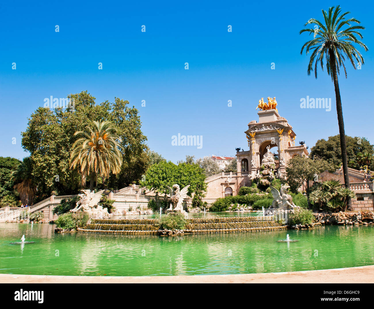 The Cascada (Waterfall) monument in Parc de la Ciutadella in Barcelona - Stock Image