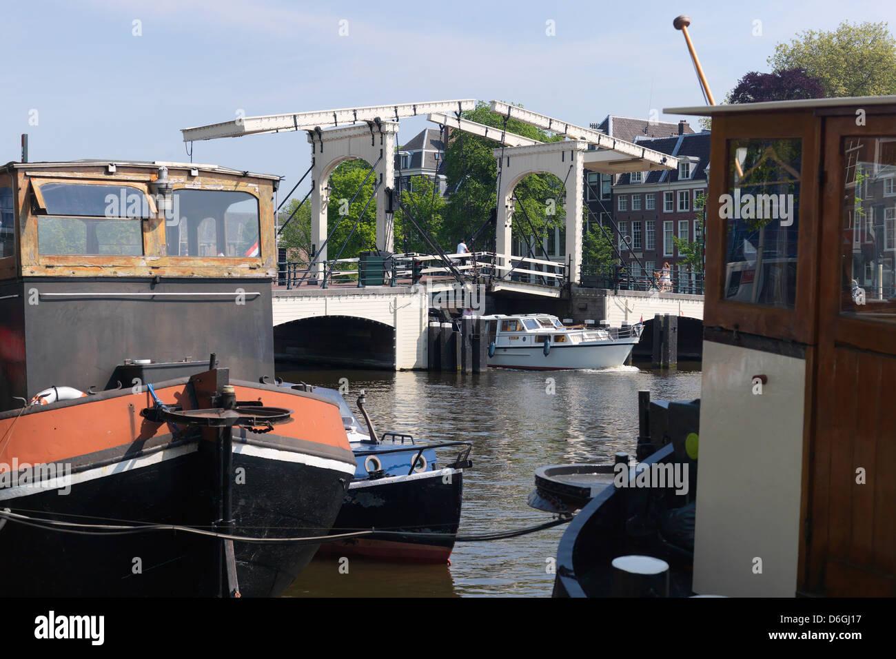 Amsterdam, The Netherlands, Ziehbruecke Skinny Bridge Stock Photo