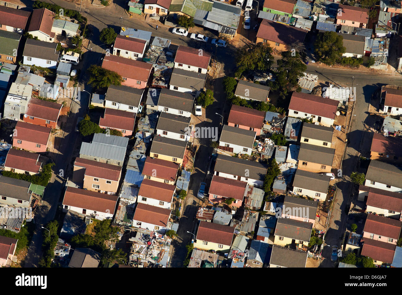 Imizamo Yethu township, Hout Bay, Cape Town, South Africa - aerial Stock Photo
