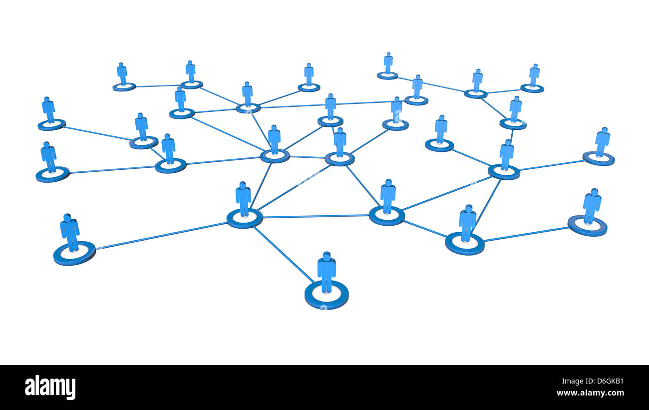High quality 3d render of business people network connections concept. Isolated on white background Stock Photo