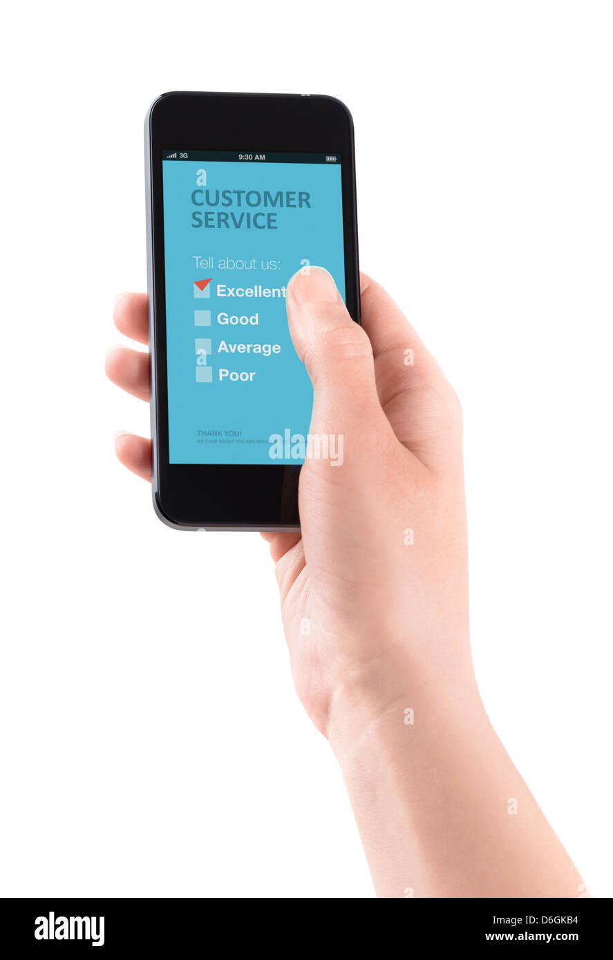 Female hand holding modern smartphone with customer service survey form on a screen. - Stock Image