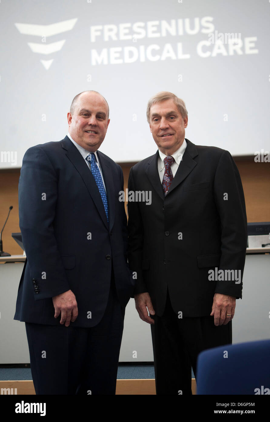 Fresenius Medical Care CEO Ben Lipps (R) and FMC deputy CEO Rice Powell attend a press conference - Stock Image