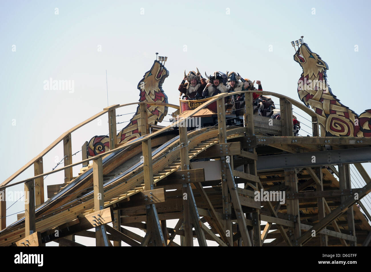 Rust, Germany, inauguration of the new wooden roller coaster Wodan, ÄìTimburcoaster at Europa-Park Rust - Stock Image