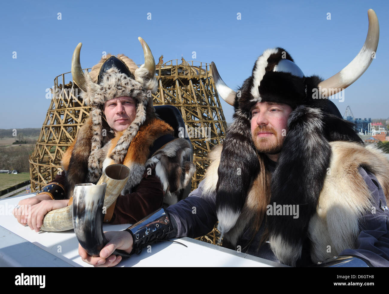 Rust, Germany, dressed visitors at the inauguration of the new wooden roller coaster Wodan, ÄìTimburcoaster - Stock Image
