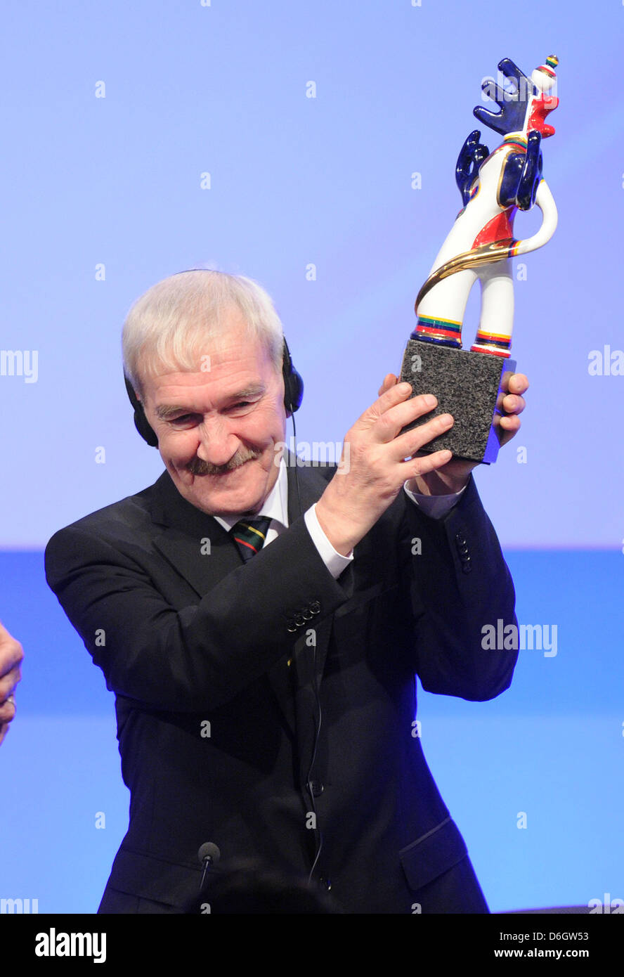 Retired Russian lieutenant colonel Stanislav Petrov poses after receiving the  German Media Prize 2011 during the - Stock Image