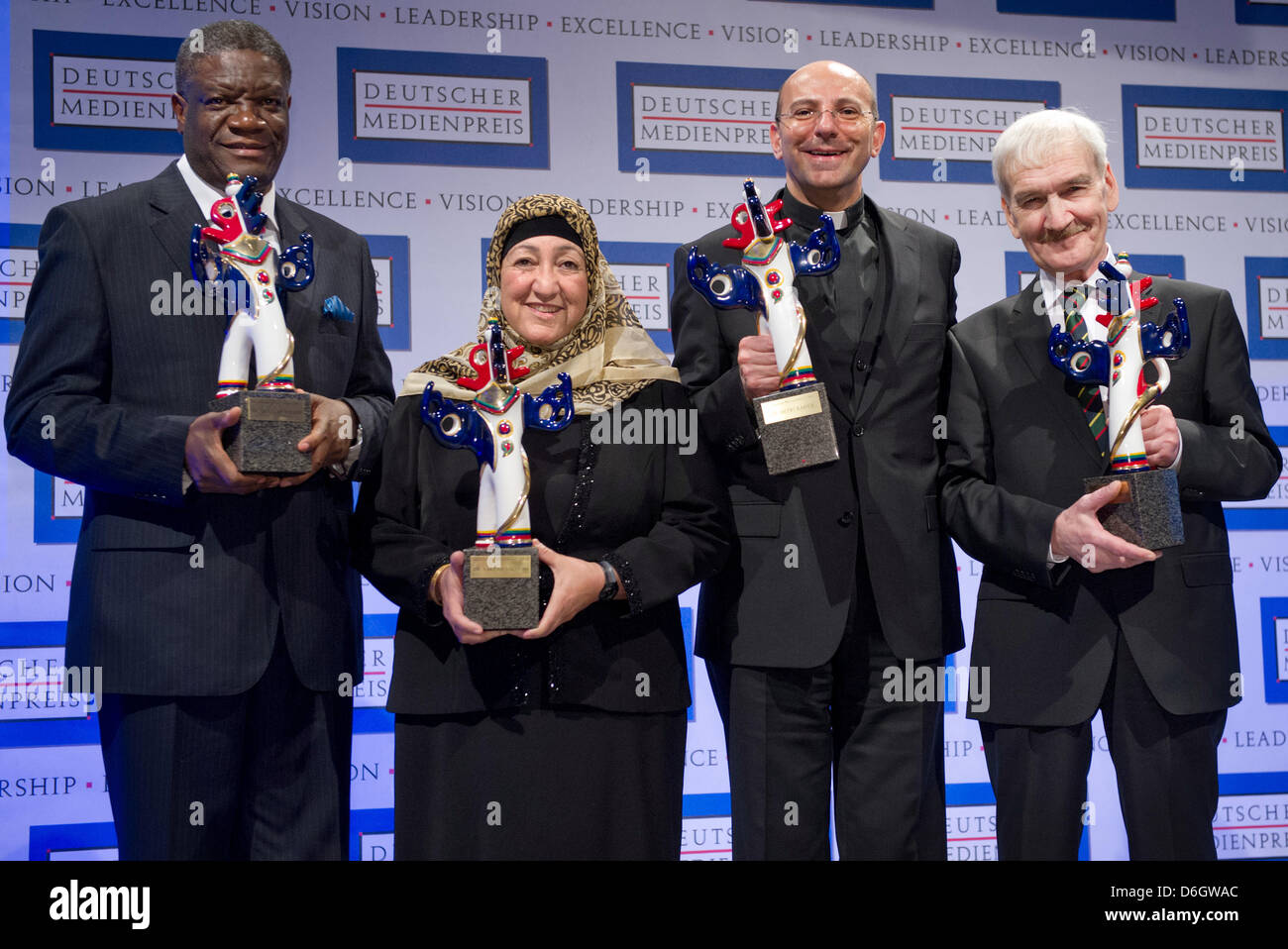The recipients of the 2011 German Media Prize, doctor Denis Mukwege from the Congo (L-R), Afghanistan education - Stock Image