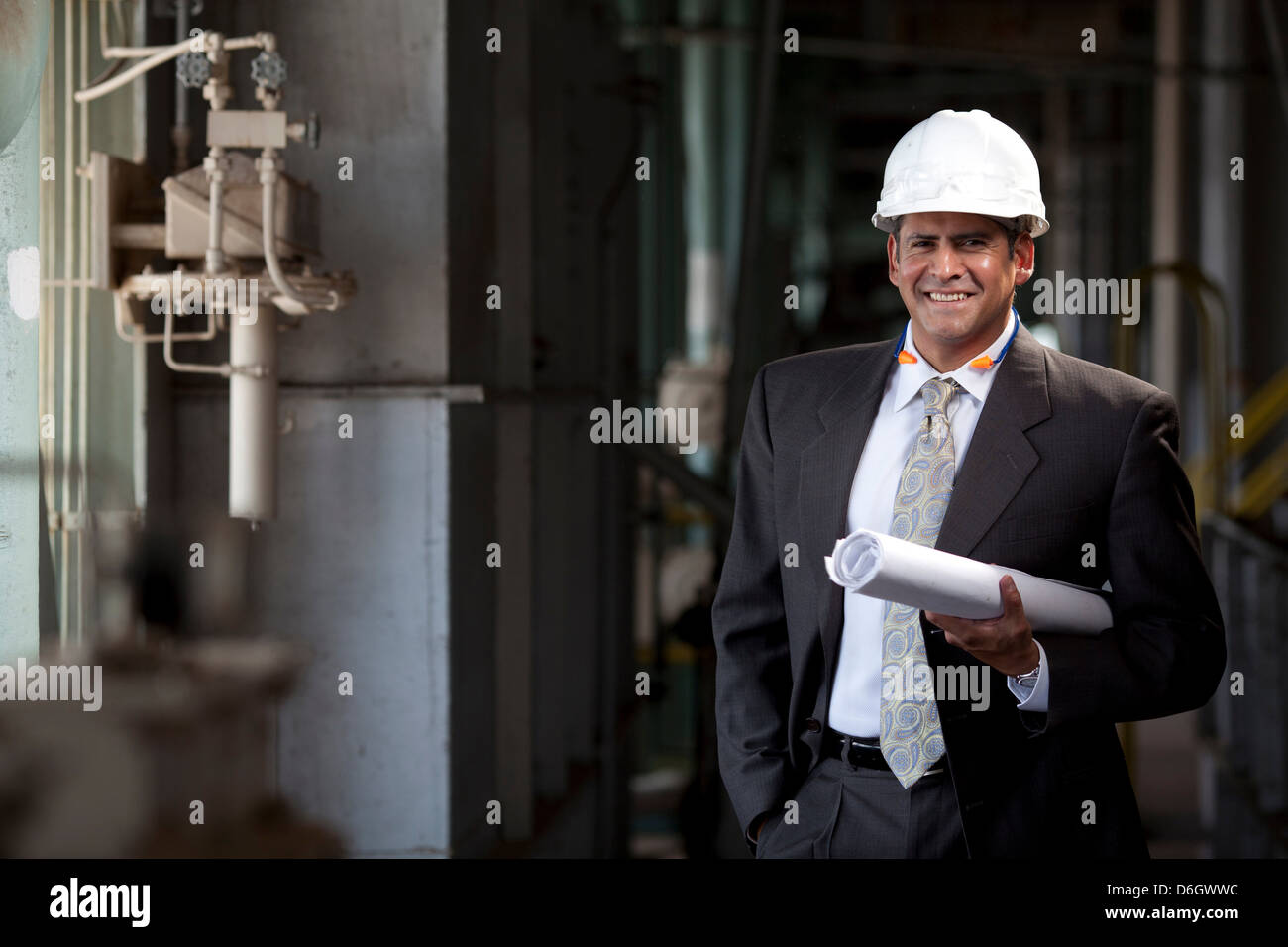 Businessman with blueprints in plant - Stock Image