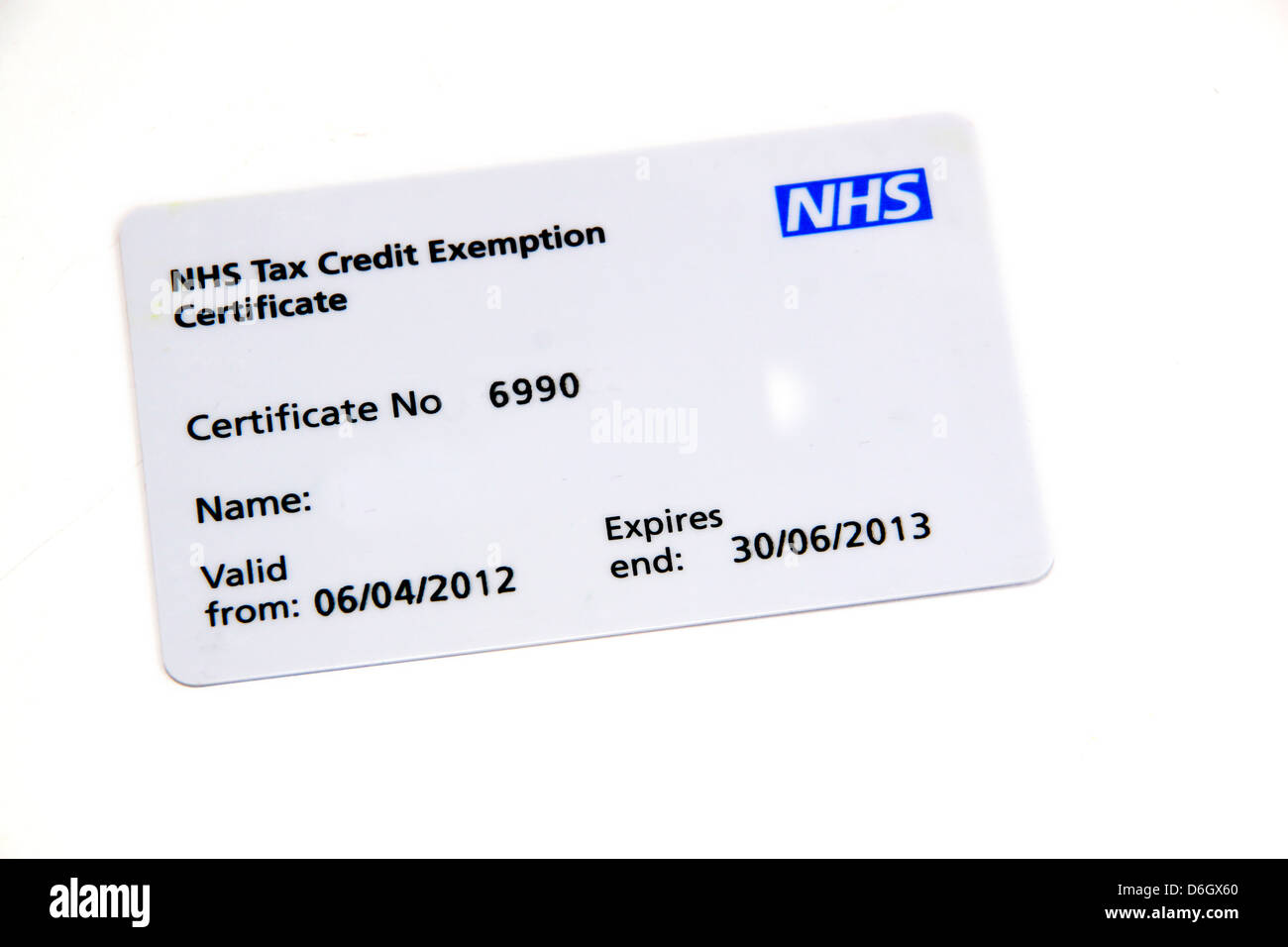 Exemption certificate stock photos exemption certificate stock uk nhs tax credit exemption certificate card stock image altavistaventures Image collections