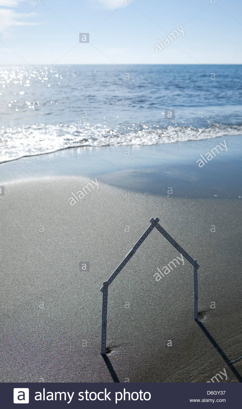 House shape sandy beach Prunete Corsica - Stock Image