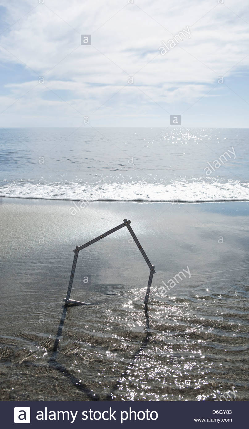 House shape sandy beach Prunete Corsica - Stock Image