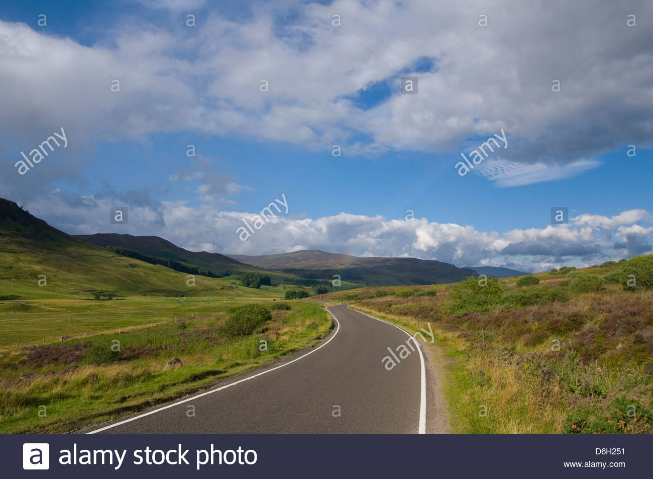 Empty road near Pitlochry Scotland U.K. - Stock Image