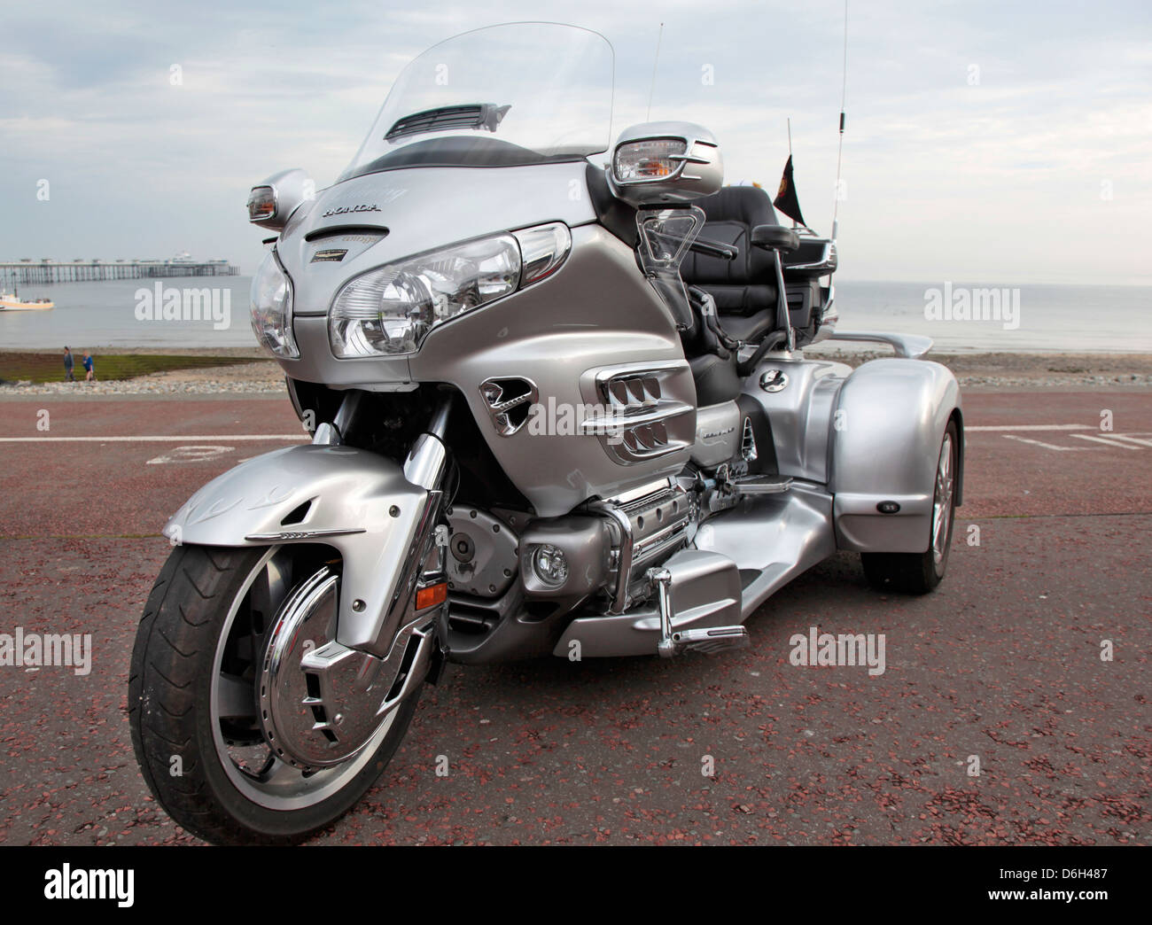 A Honda Goldwing Trike on the promenade at Llandudno Conwy