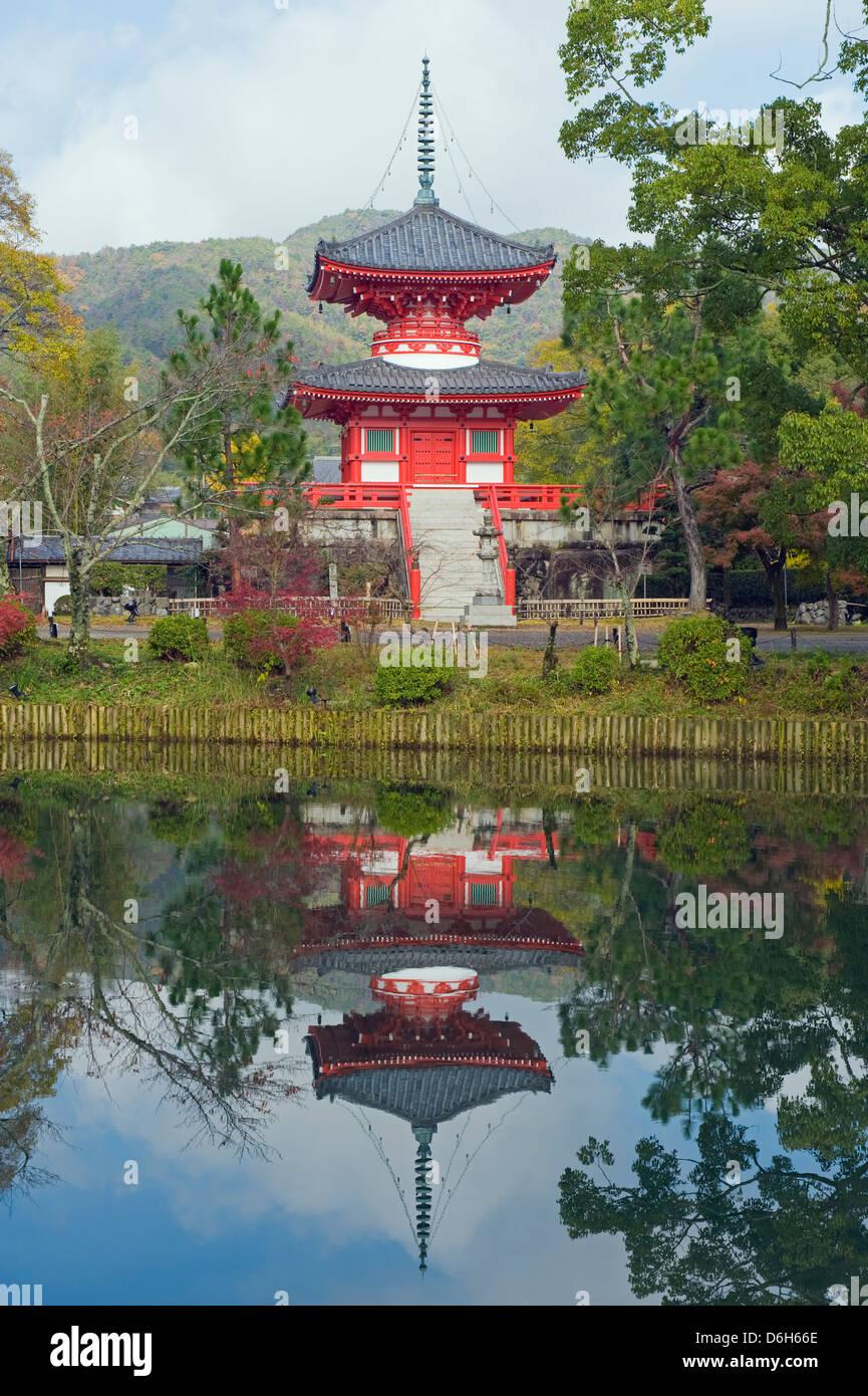 Pagoda on Osawa Pond, Daikaku ji (Daikakuji) Temple, (876), Sagano area, Kyoto, Japan, Asia Stock Photo