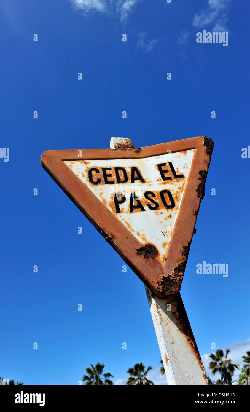 An old Ceda El Paso road sign with a blue sky in Lanzarote, Canary Islands, Spain. Stock Photo