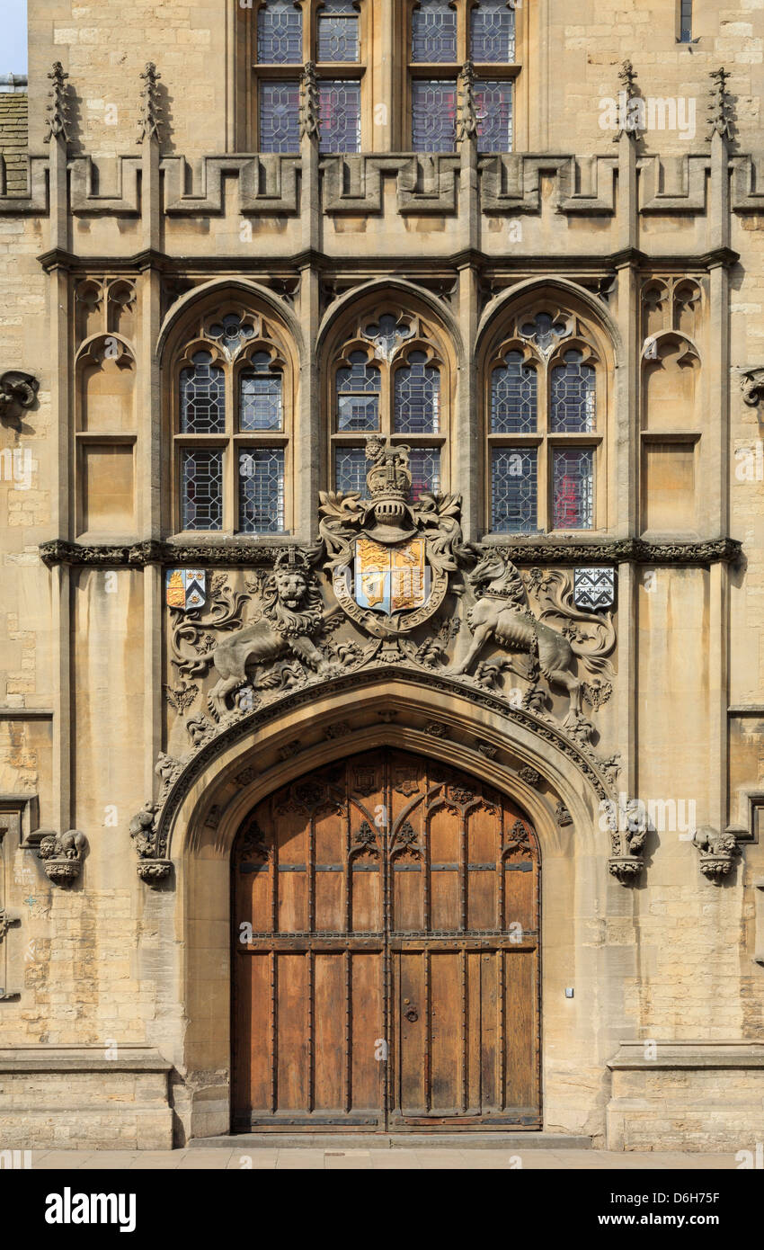 Oxford Oxfordshire England UK. Brasenose College with coat of arms above the entrance door in tower designed by - Stock Image