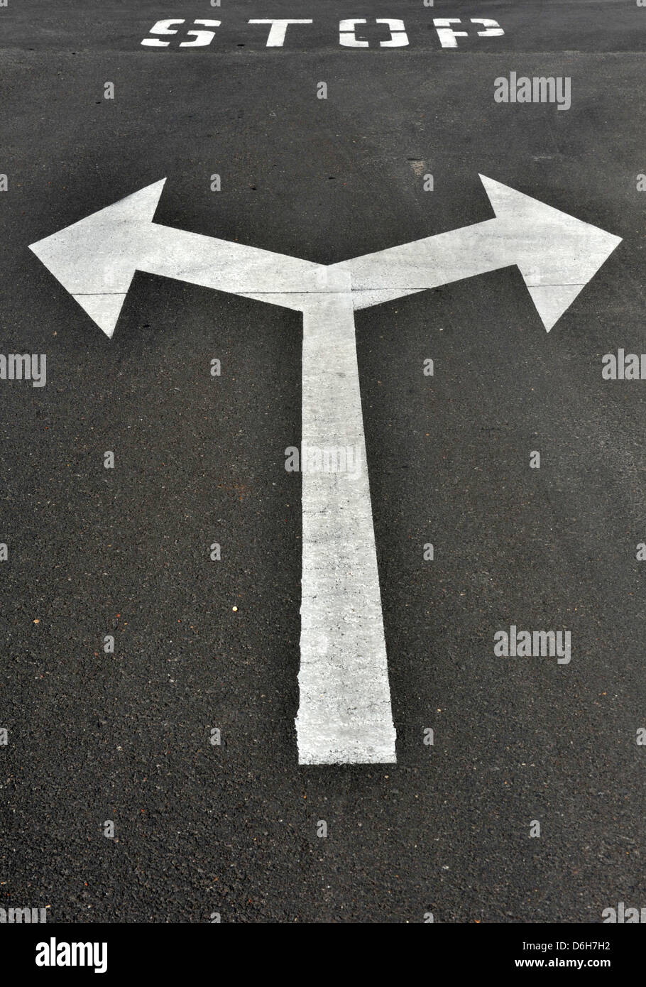 Stop T junction painted road markings, Lanzarote, Canary Islands Stock Photo