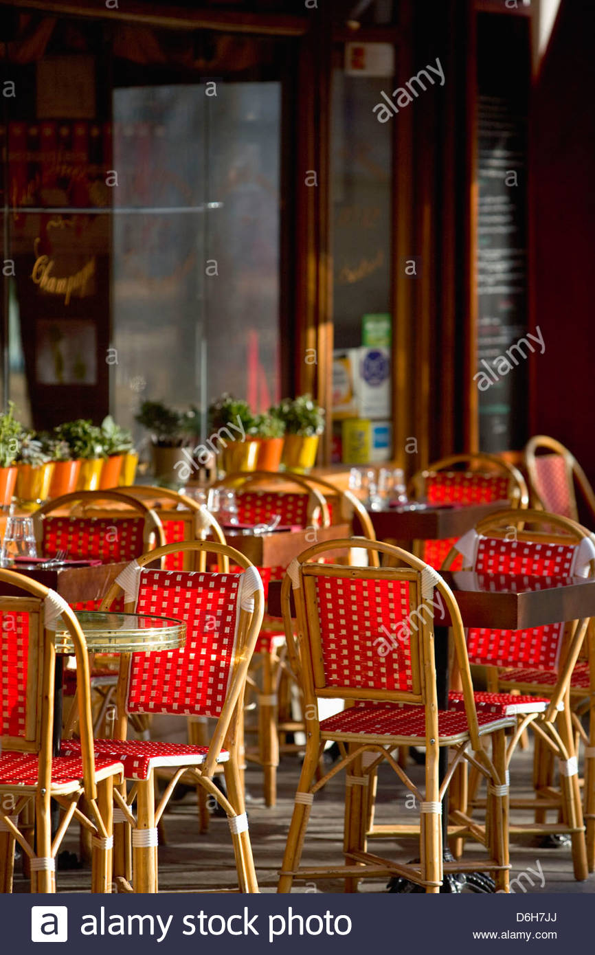 Tables Chairs Outside Street Cafe Paris France