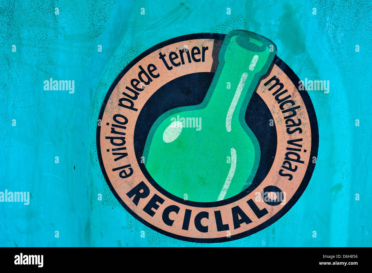 An image on a glass recycling bin in Lanzarote. - Stock Image