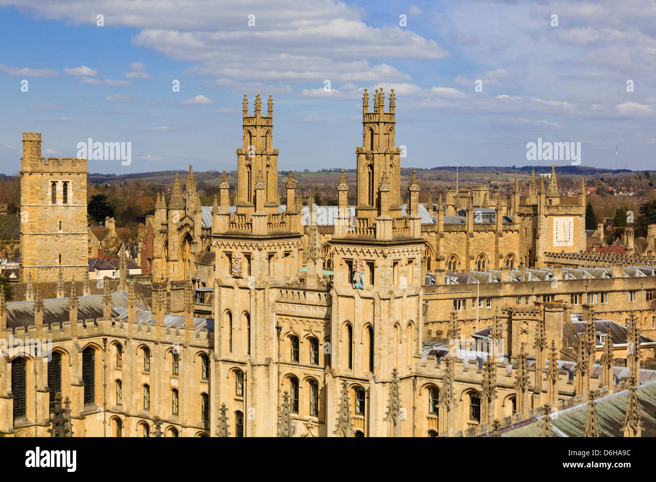 High view of Hawksmoor towers of All Souls College, the all fellows university. Oxford, Oxfordshire, England, UK, - Stock Image