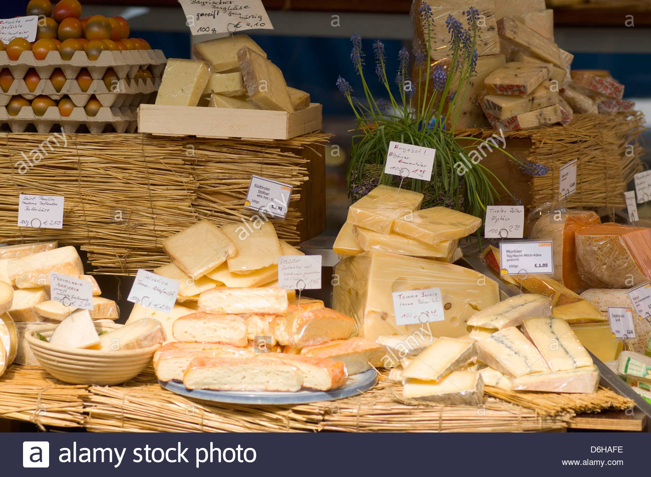 Cheese display selection shop market Munich - Stock Image