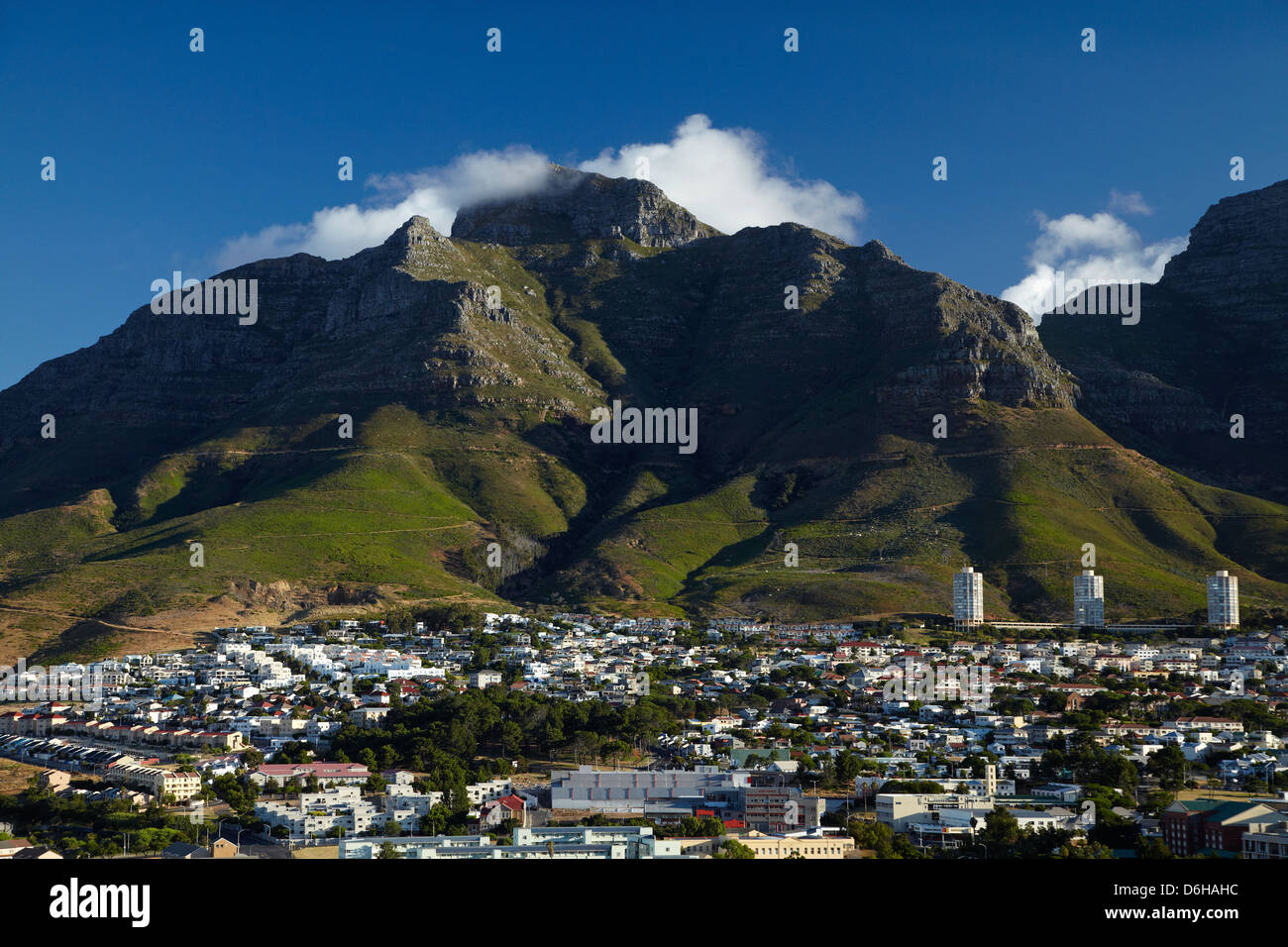 Cape Town and Devil's Peak, Table Mountain, Cape Town, South Africa - Stock Image