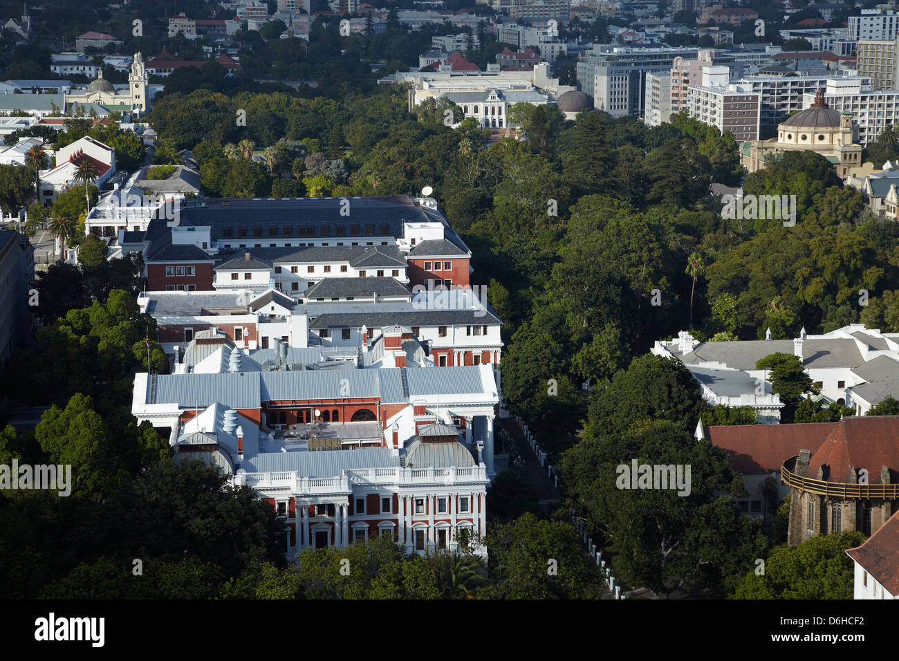 Houses of Parliament and Company's Garden, Cape Town, South Africa - Stock Image