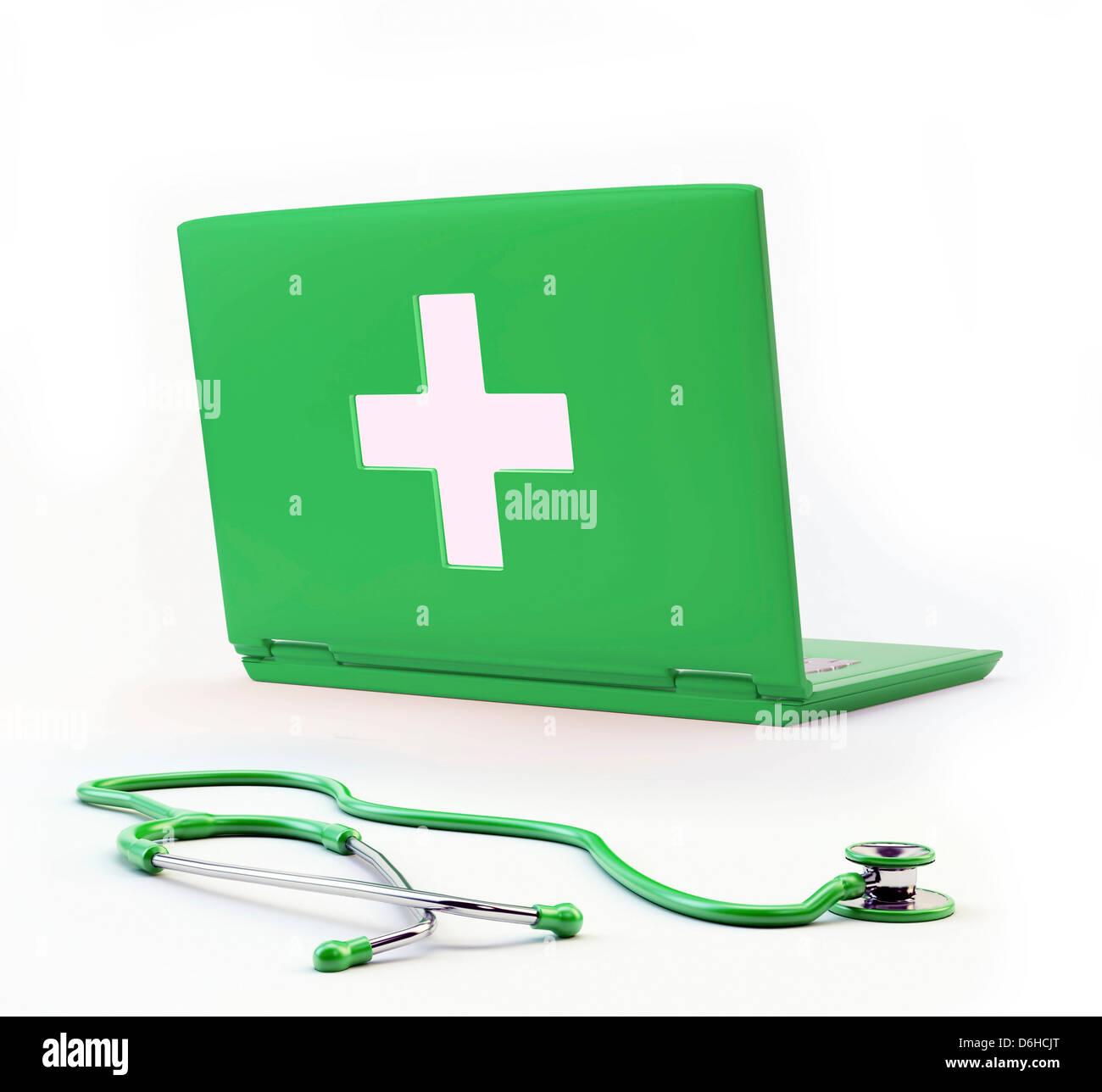 Online diagnosis, conceptual artwork Stock Photo