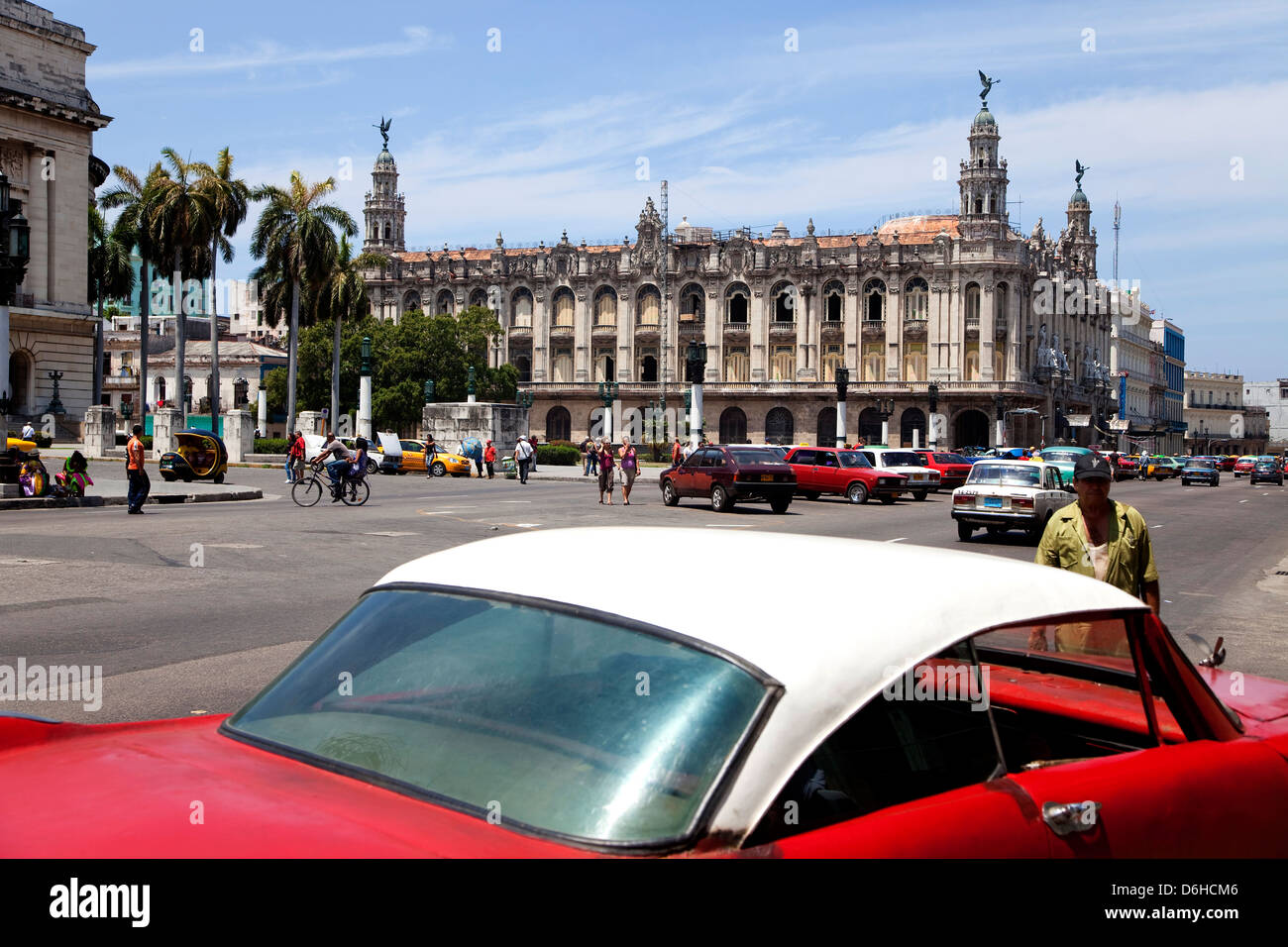 National Theater or Teatro Nacional with cars in traffic, Cuban city of Havana, La Habana, Cuba, South America, - Stock Image