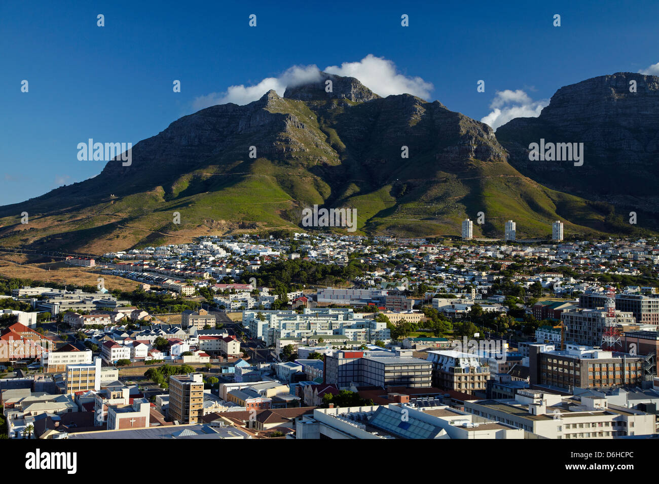 Cape Town, including District Six at left, and Devil's Peak, Table Mountain, Cape Town, South Africa - Stock Image