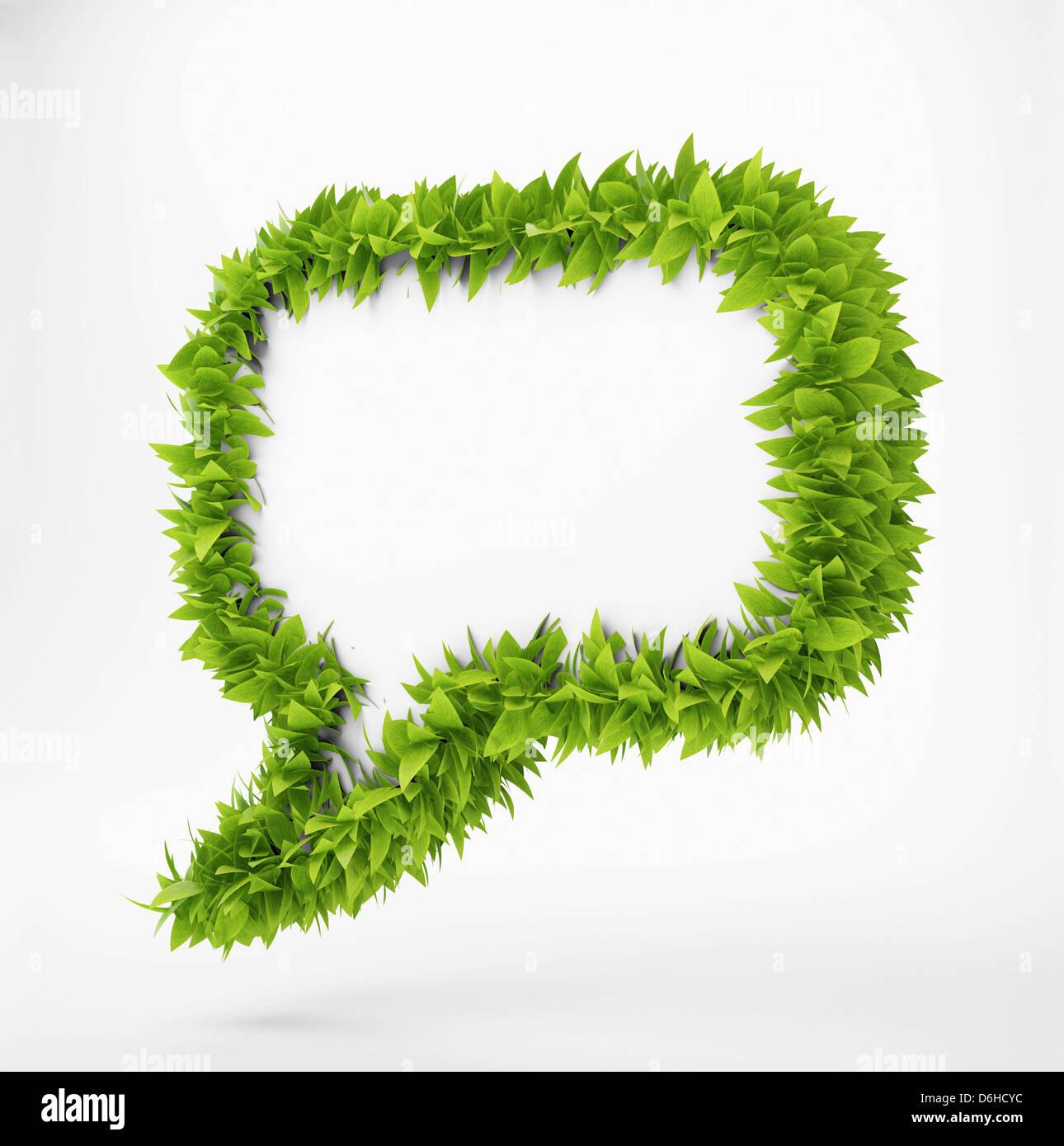 Leafy speech bubble, artwork - Stock Image