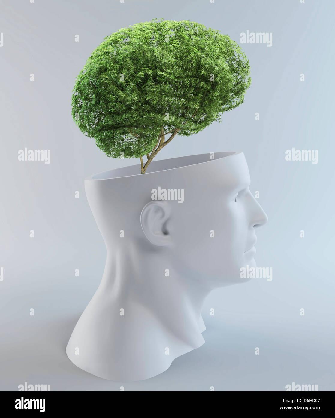 Tree-shaped brain, artwork - Stock Image