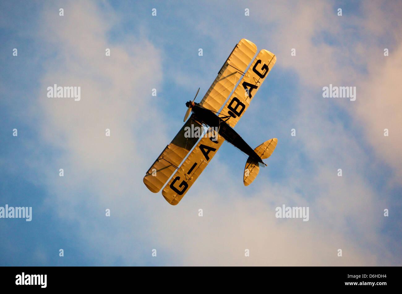 Biplane in flight - Stock Image