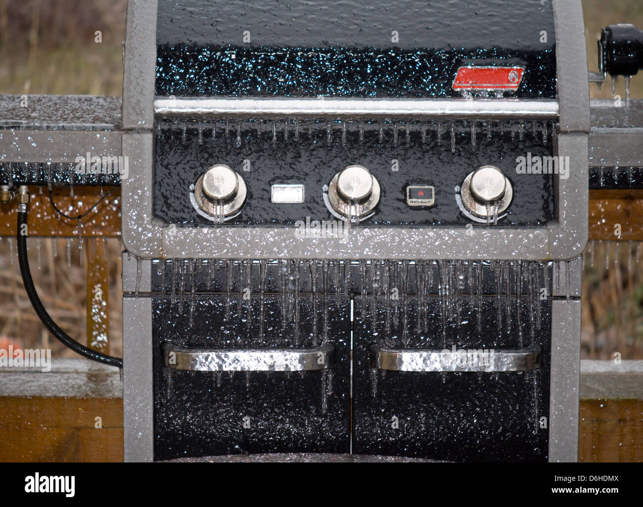 Ice covered Barbeque - Stock Image