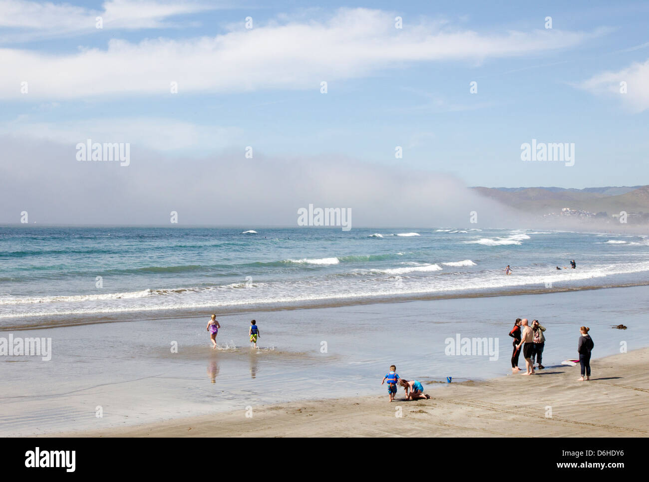 Marine Layer at Beach on a Sunny Day - Stock Image