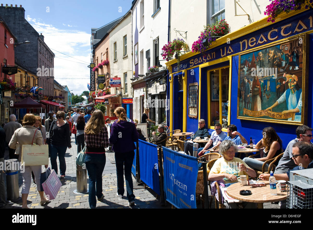 Tourists eating out at High Street Galway City Ireland - Stock Image