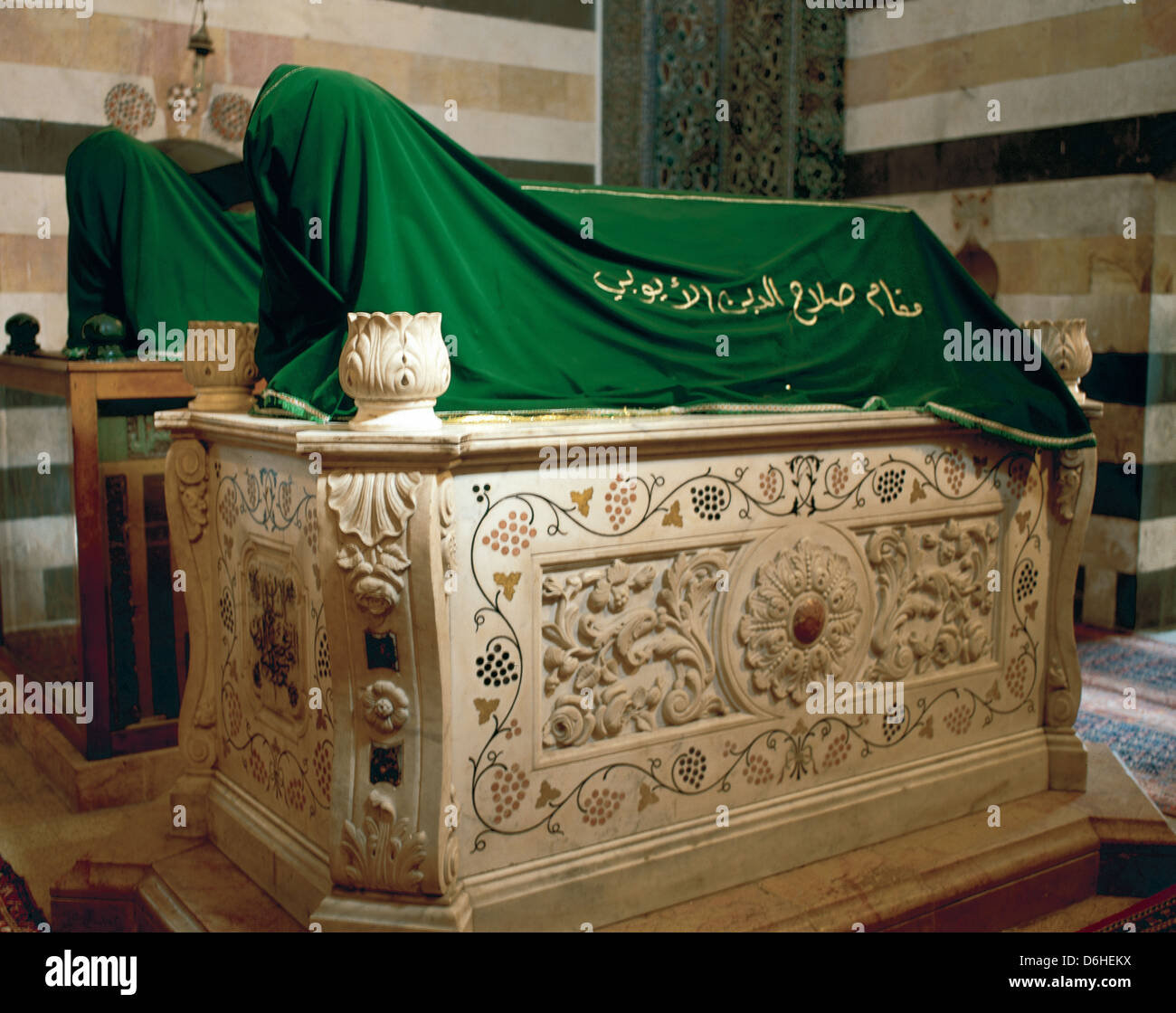 Mausoleum of Saladin (1138-1193). Marble coffin gift from Wilhem II next to a wooden tomb that holds Saladin's - Stock Image