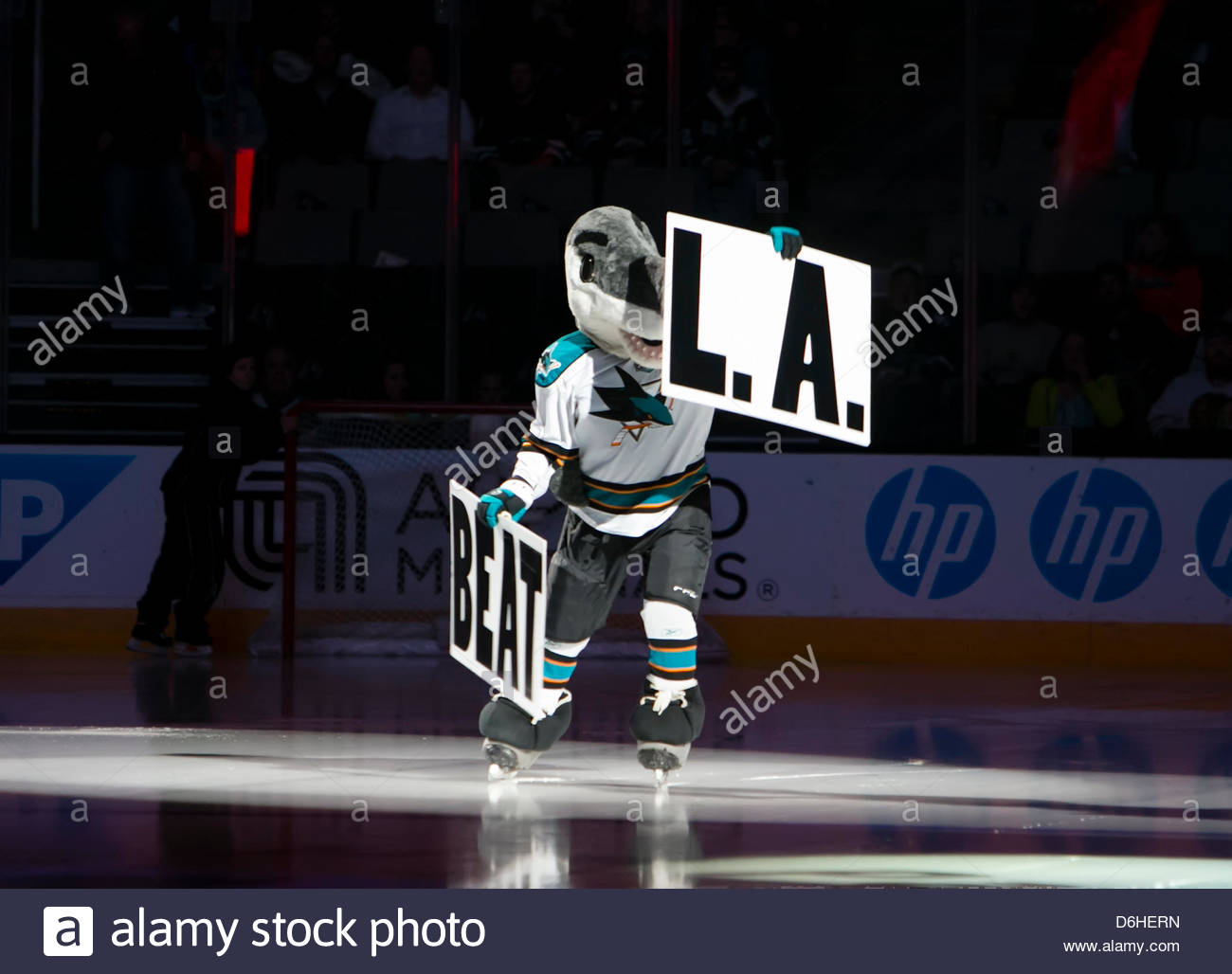 April 16 2013 Sharks Mascot SJ Sharkie Holds Up The Beat LA Posters Prior To NHL Hockey Game Between Los Angeles Kings And San Jose