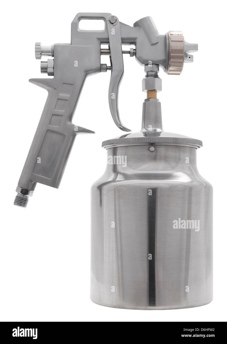 Spray paint gun air tool on white background - Stock Image