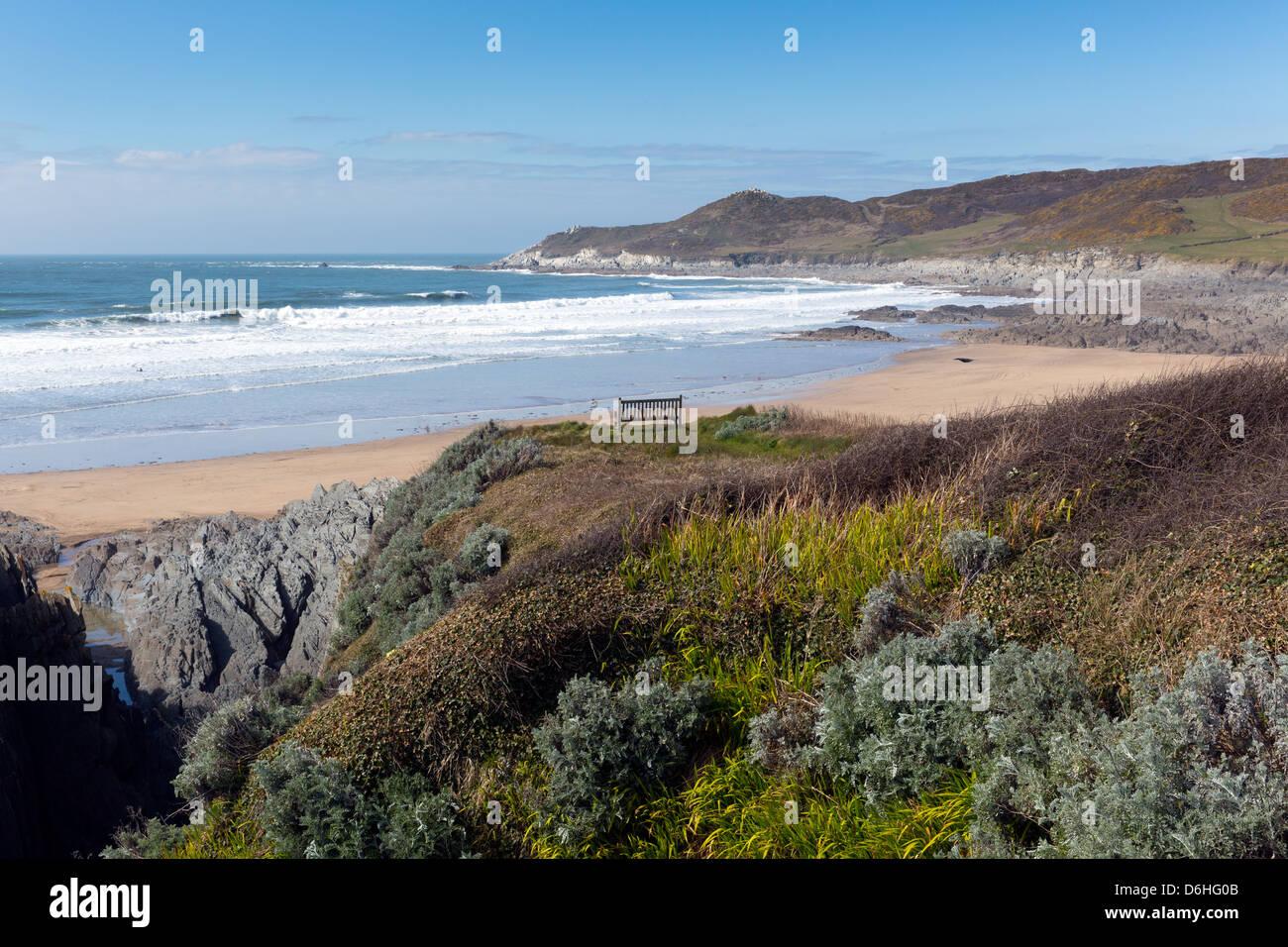 Woolacombe Devon England coastline towards Morte Point from South West Coast Path viewStock Photo