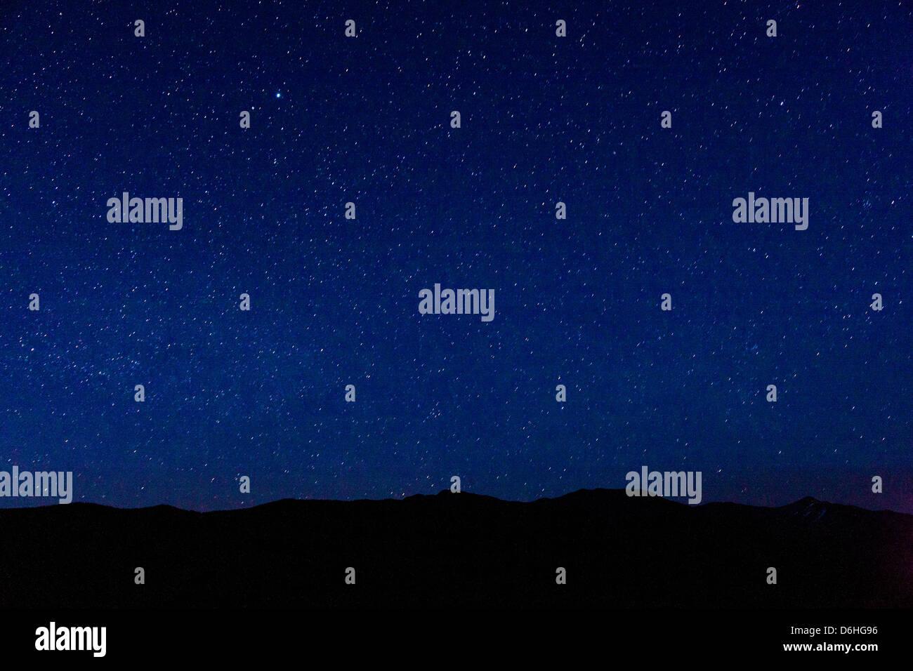 Star filled sky from Poncha Pass, Sawatch Range, Chaffee County, Colorado, USA - Stock Image