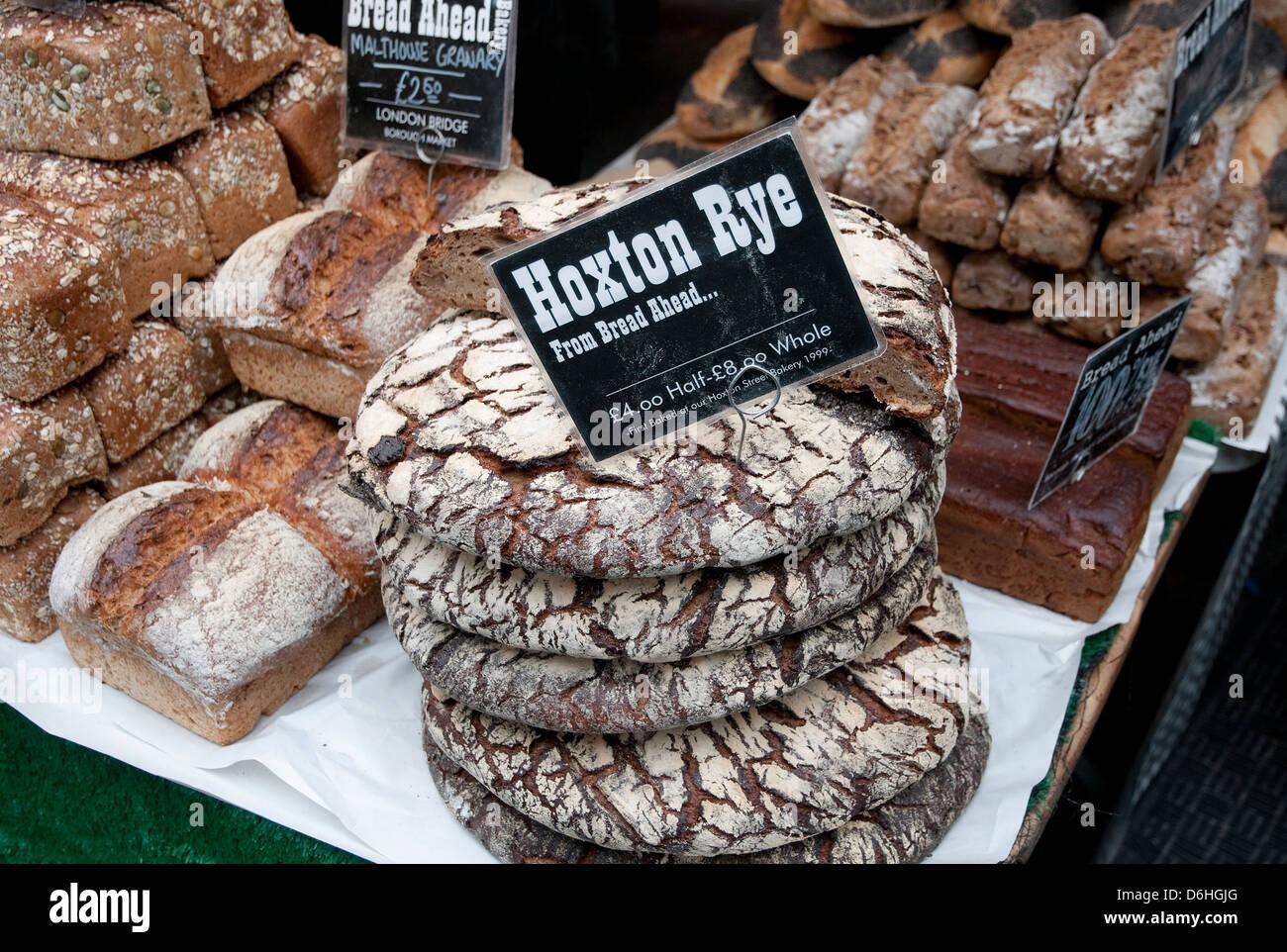 artisan bread, borough market, london, england - Stock Image